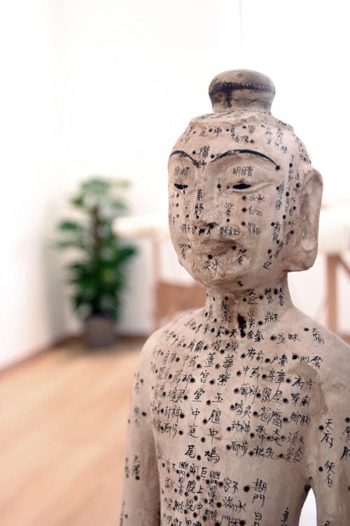 Statue Akupunkturpunkte mit chinesischen Schriftzeichen